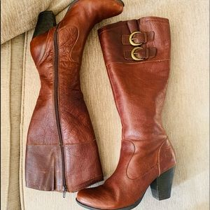 Boc brown leather tall boots with heel size 8